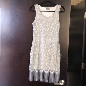 VENUS Sleeveless Silver Fringed Dress Size S